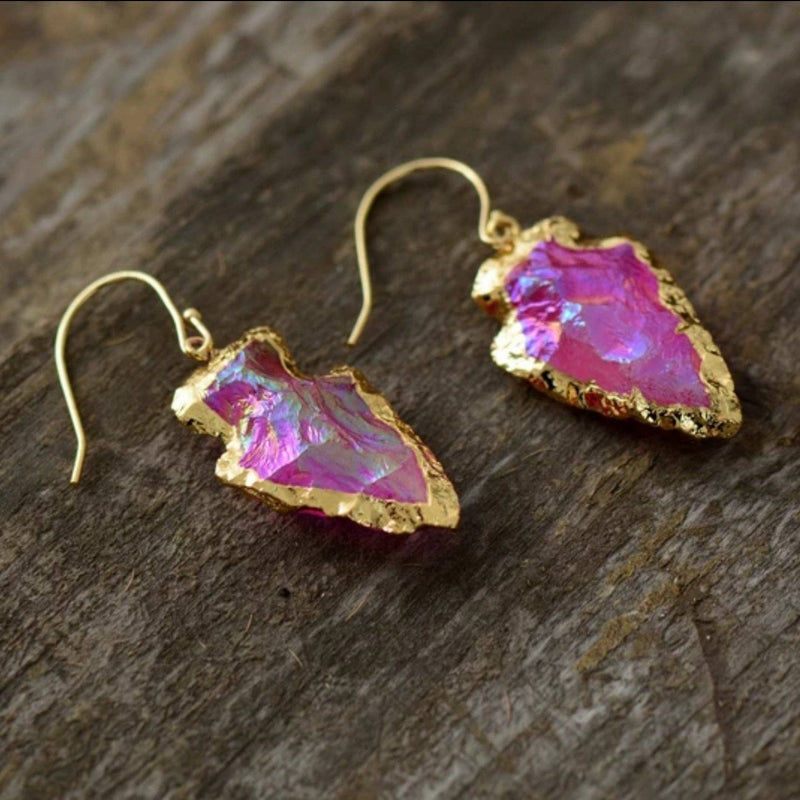 Magenta Quartz Arrowhead Earrings