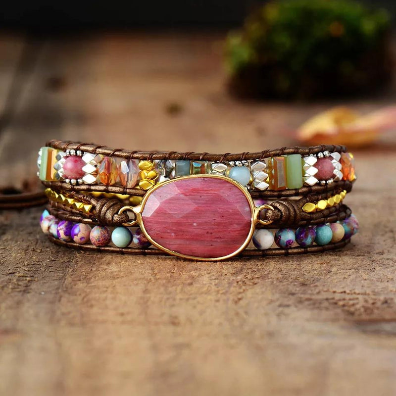Leather boho wrap bracelet with large pink rhodonite  gemstone centerpiece