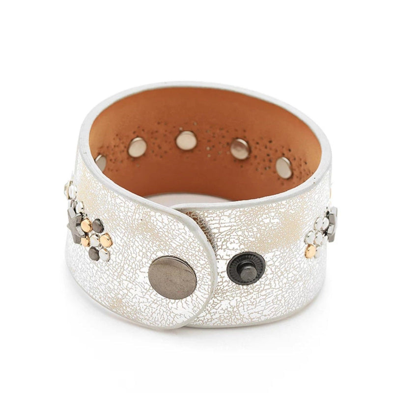silver leather studded bracelet with 2 snap closures