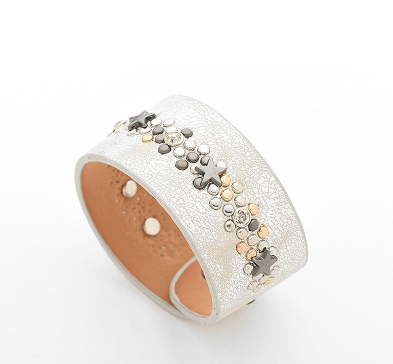 silver leather studded bracelet