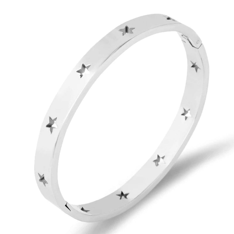 Stainless steel classic bangle bracelet with star cutout accents
