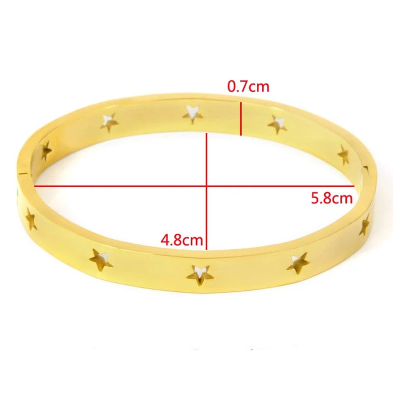 Gold stainless steel bangle bracelet with star cutouts
