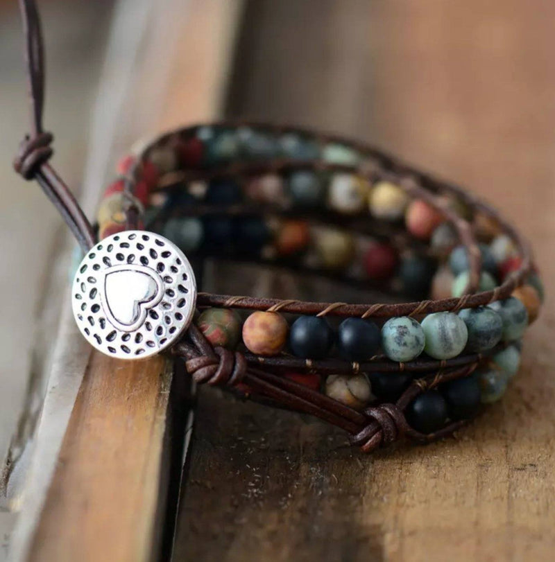 Tranquility Wrap Bracelet of Natural Jasper and Leather with Silver Heart Button Closure