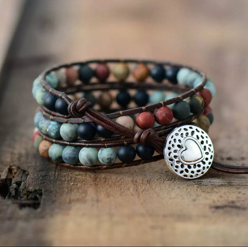 Tranquility Jasper Beaded Wrap Bracelet with Silver Heart Button Clasp