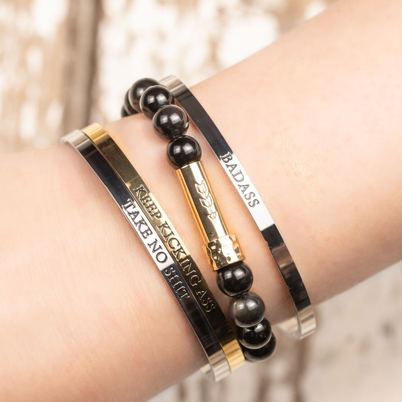 Womens cuff bracelets with funny and empowering printed messages