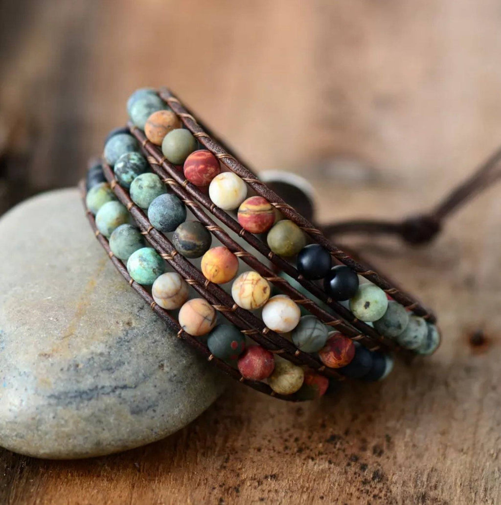 Natural Jasper Gemstone Beaded Leather Boho Wrap Bracelet