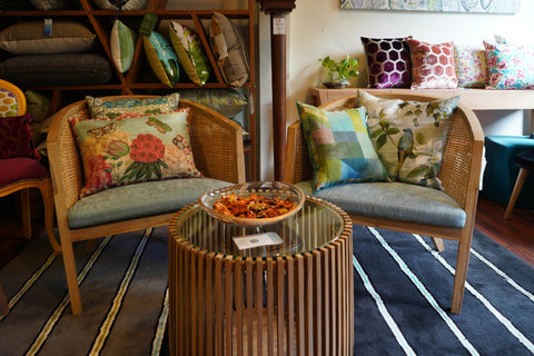 Gallery 278 Chairs with Designers Guild Cushions and Coffee Table