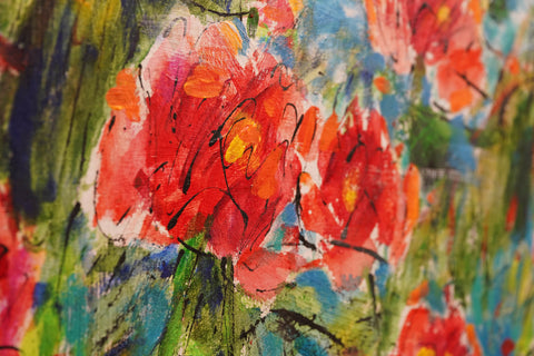 Painting of Pink Flowers at Gallery 278 by Esco Leasing