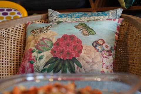 Gallery 278 Rattan Chair and Designer Guild Fabric Cushions with Butterflies and Flowers Print