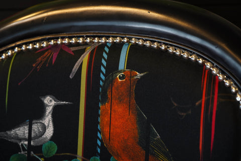Gallery 278 Black Chair with Birds Design