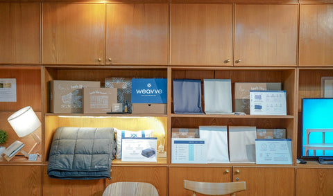 Weavve Home's Sheets and Weighted Blanket Display at Namu Furniture