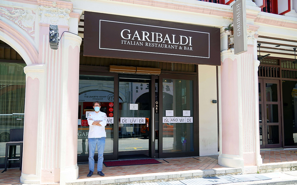 Chef Roberto in front of Garibaldi resturant