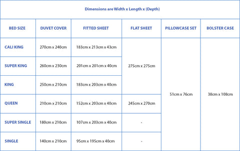 Weavve Home size guide & recommendations. Bed sheets size chart.