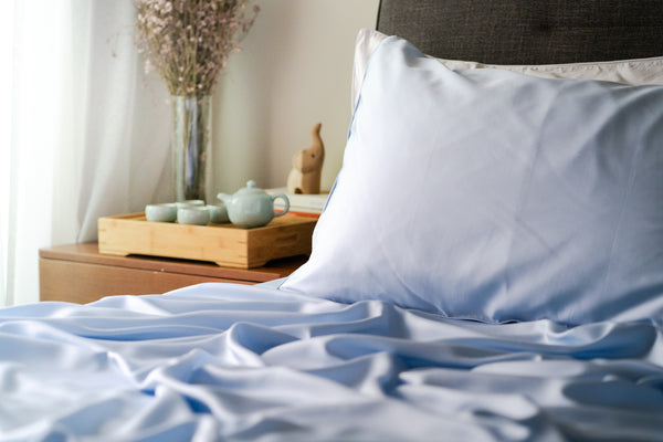Weavve Lyocell Tencel Fitted Bed Sheet Set with Pillowcase. Shop Blue tencel bed sheets Singapore.