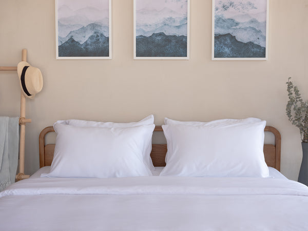 Weavve Lyocell Tencel Fitted Bed Sheet Set with Pillowcase. Shop White tencel bed sheets Singapore.