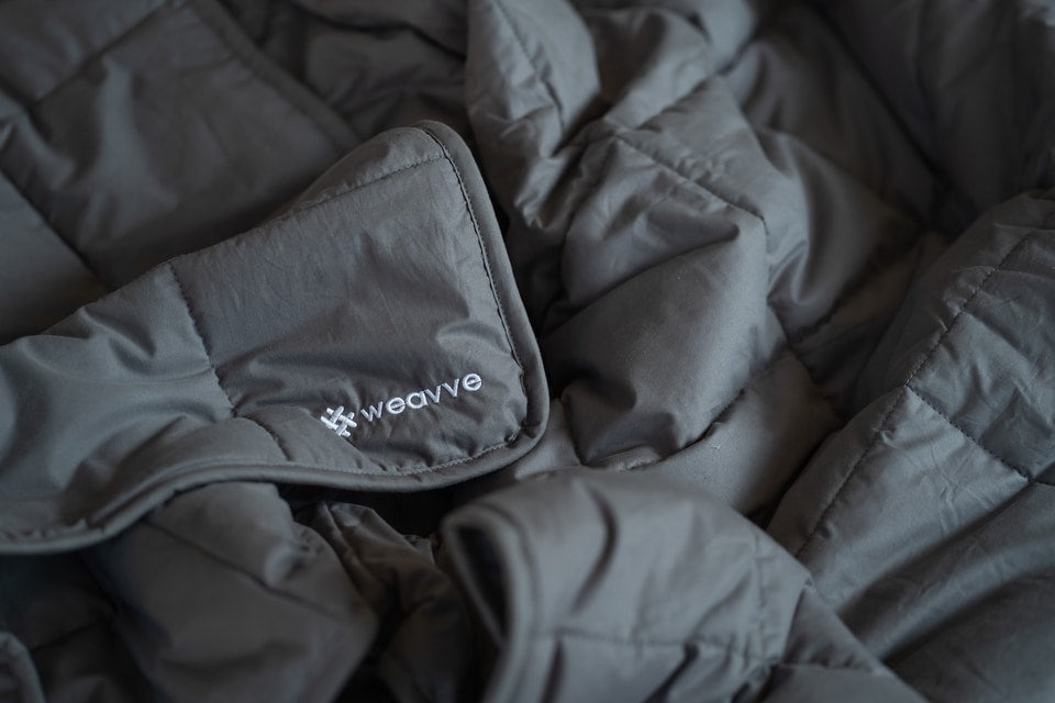 crumpled dark grey weighted blanket with white Weavve embroidery