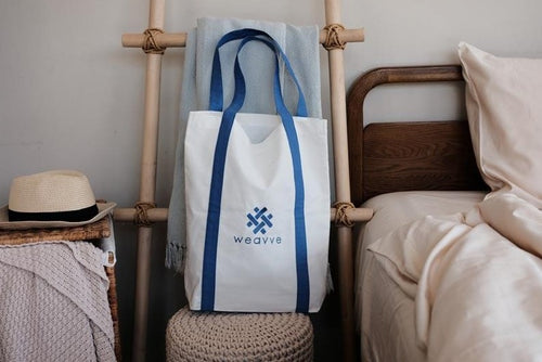 100% Cotton Classic Logo Embroidery Tote Bag. Singapore Weavve Home Accessories Collection.