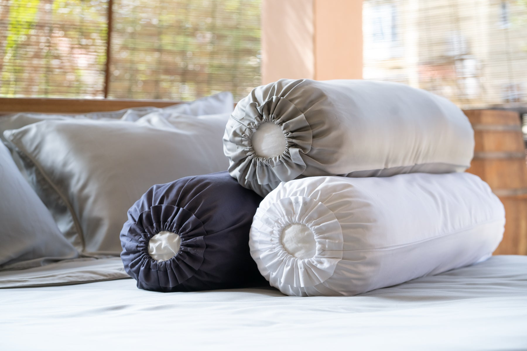 Silky smooth TENCEL™ bed linen sheets, 400 thread count, 100% TENCEL™ Lyocell fibres. Lyocell Bolster Case from Singapore Weavve Home Lyocell Collection.