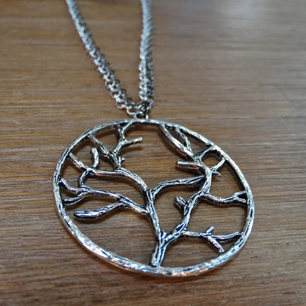 Tree of Life Pendant with Silver and Gunmetal Chain