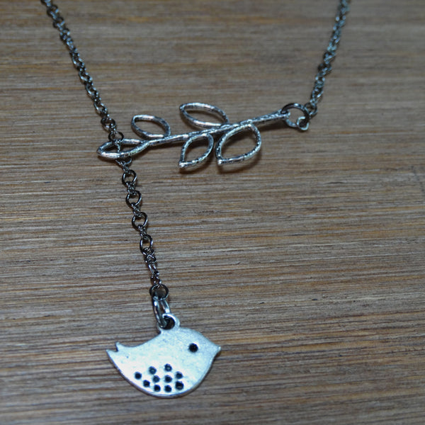 Bird and Leaf Lariat Necklace with Gunmetal Chain
