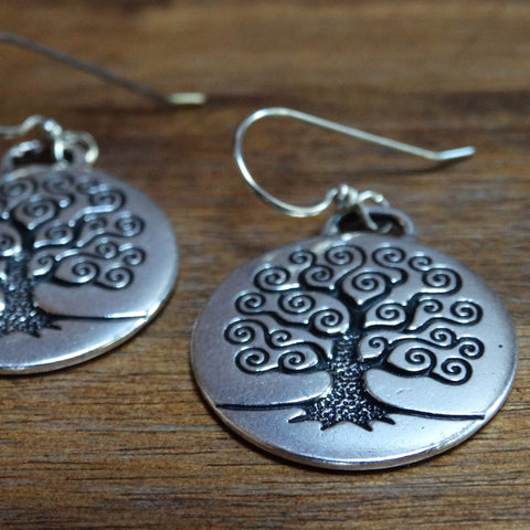 Large Silver-plated Tree of Life Earrings