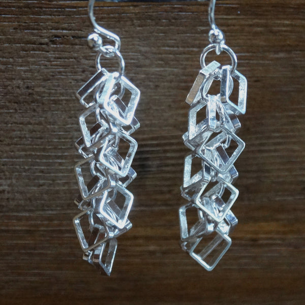 Short Silver-plated Square Cha-Cha Earrings