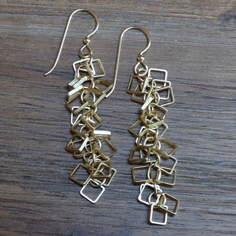 Gold-plated Square Cha-Cha Earrings