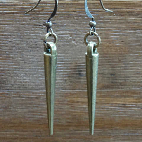Antique Brass Spike Earrings