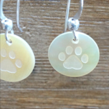 Paw Print on Mother of Pearl Shell Earrings