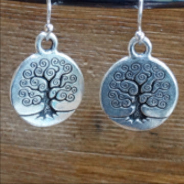 Small Silver Tree of Life Earrings