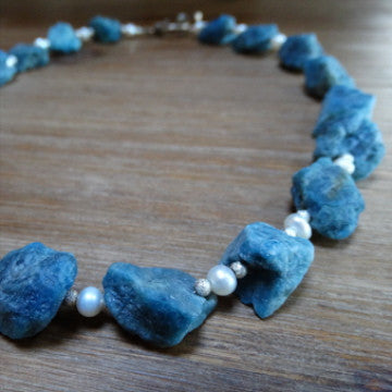 Apatite Rough-Cut Nugget with Pearls Necklace
