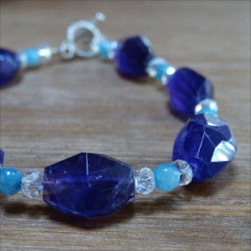 Amethyst and Blue Chalcedony Polished Nugget Bracelet