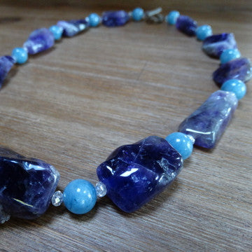 Amethyst Large Polished Nuggets with Blue Chalcedony Necklace