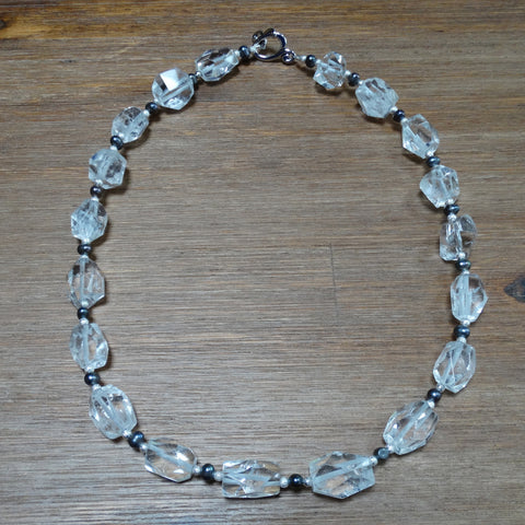 Crystal Quartz Faceted Nugget with Dark Grey Freshwater Pearl Necklace
