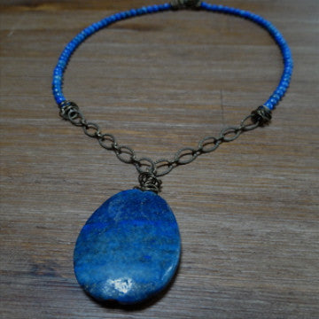 Lapis Lazuli Pendant with Sodalite and Antique Brass Chain