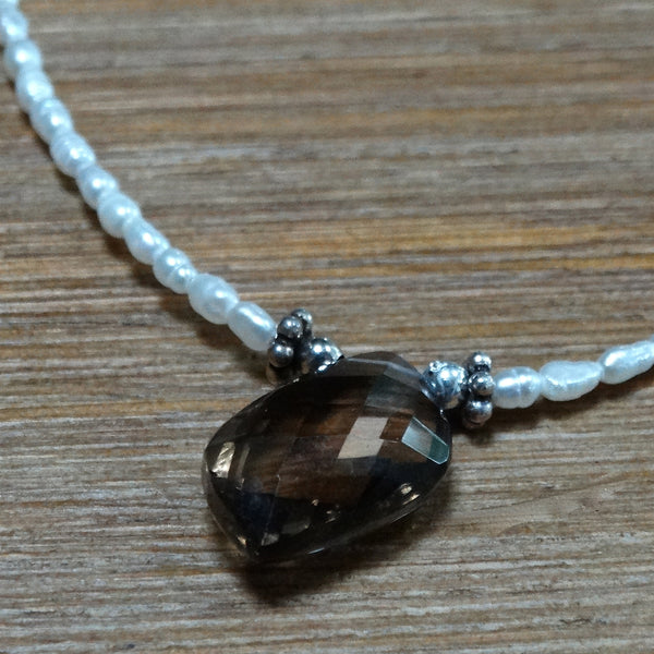 Smoky Topaz Drop with Delicate Rice Pearl Necklace