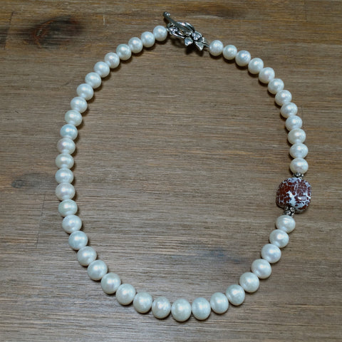 Freshwater Pearl Necklace with Crab Fire Agate