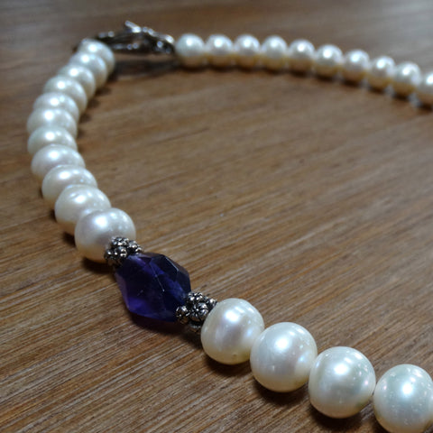 Freshwater Pearl Necklace with Offset Amethyst Nugget