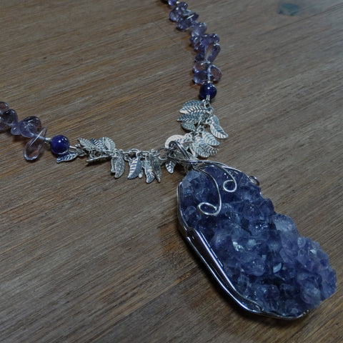 Amethyst Druzy Pendant with Silver Leaf Chain