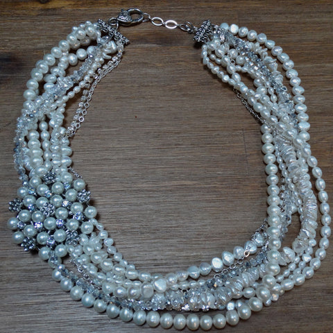 9 Strand Pearl and Crystal Necklace