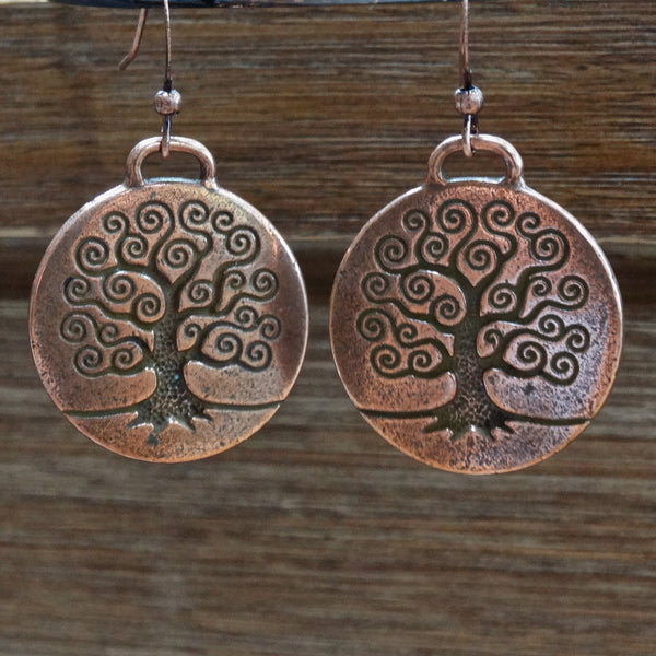Large Copper Tree of Life Earrings