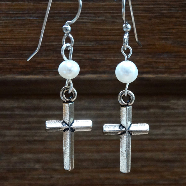 Simple Silver-Plated Cross Earrings with Freshwater Pearls