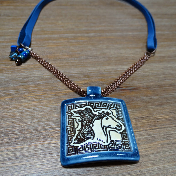 Ceramic Horse Pendant on Blue Leather