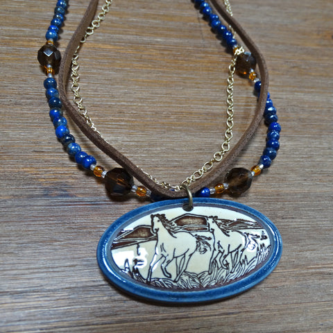 3 Strand Necklace with Running Horses Pendant