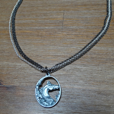3 Strand Chain Necklace with Pewter Horse Pendant