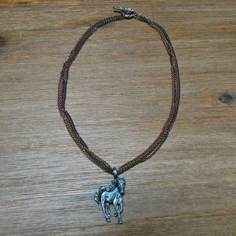 4 Strand Chain Necklace with Pewter Horse Pendant