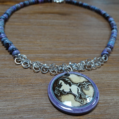 Charoite and Chain Horse Necklace
