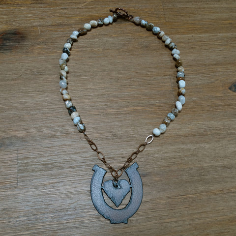 Iron Heart in Horseshoe Pendant with Jasper Nuggets