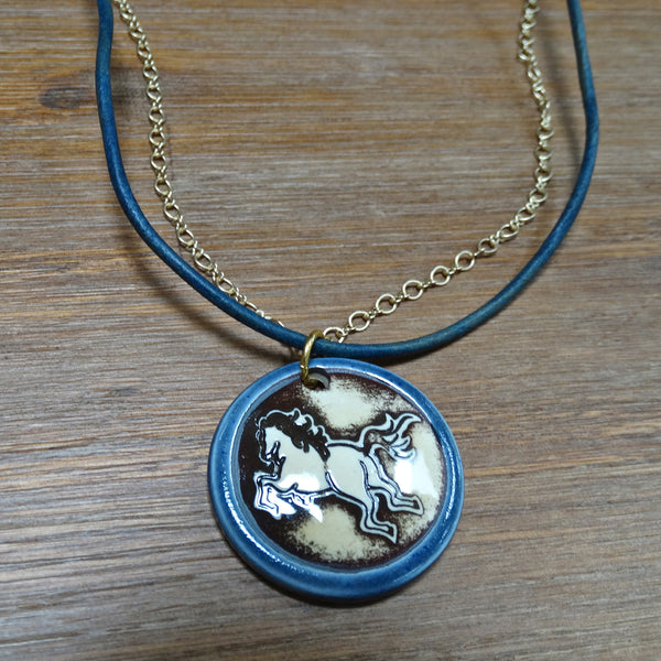 Ceramic Horse Pendant on Leather and Chain