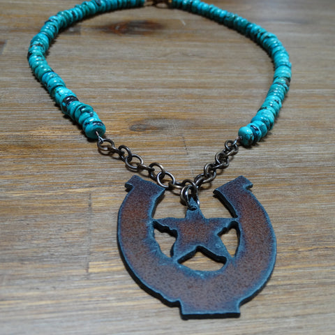 Iron Star in Horseshoe Pendant with Turquoise Necklace